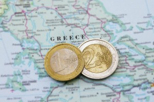 Griechenland Krise Landkarte Euromünzen