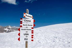 Wegweiser mit Schildern von Russia, China, den Koreas, USA und der EU