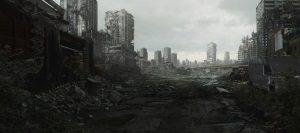 zerstörte Stadtkulisse